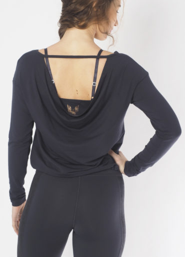 Yoga longsleeve Top Aditi anthracite front side detail the look yoga shape leggings lakshmi back view