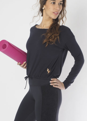 Yoga longsleeve Top Aditi anthracite front detail