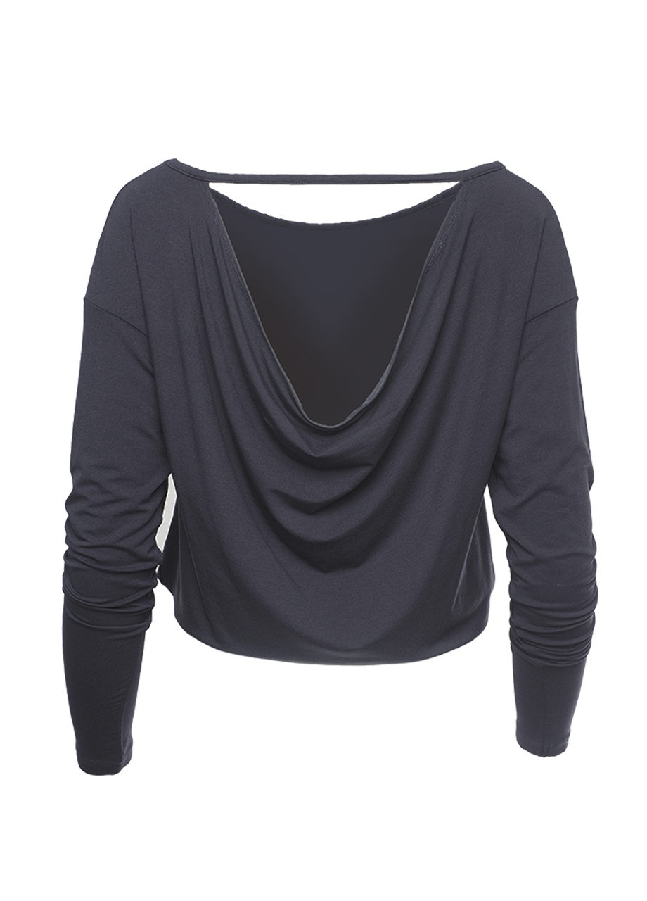 Yoga longsleeve Top Aditi anthracite back view-kismet yogastyle-modal