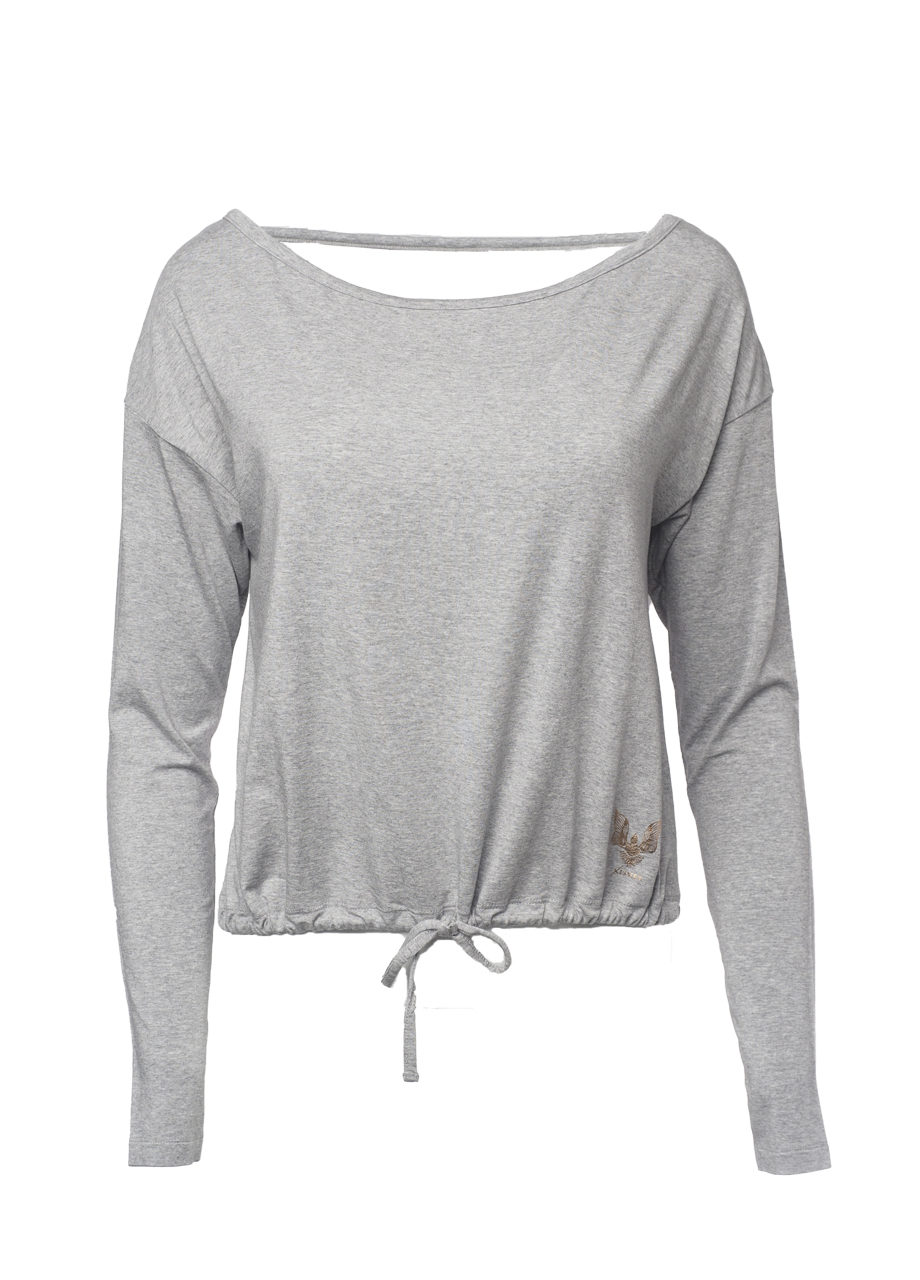 Yoga Top Aditi grey marl front view