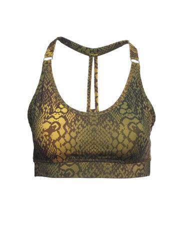 Yoga Bra Top Siwa snake olive multicolor-Kismet Yogastyle