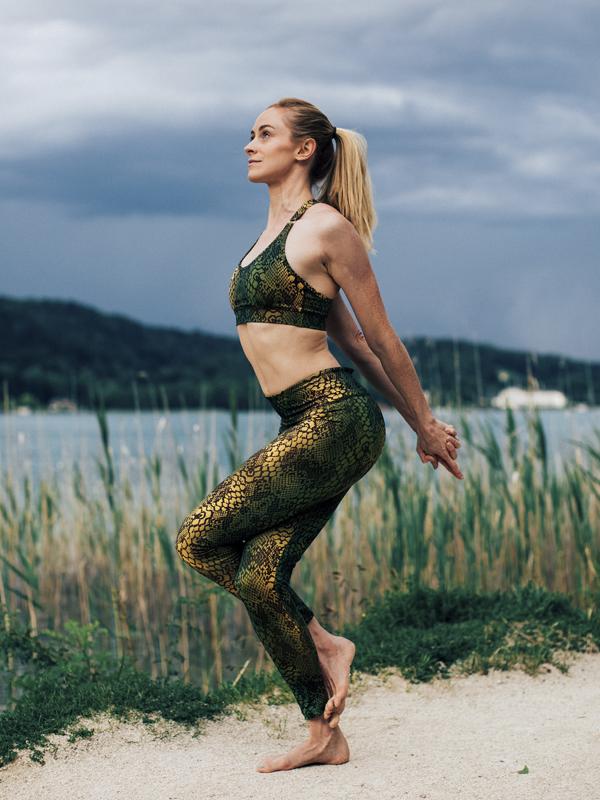 Yoga Bra Top Siwa snake olive multicolor-Kismet Yogastyle-front view-Victoria Egger