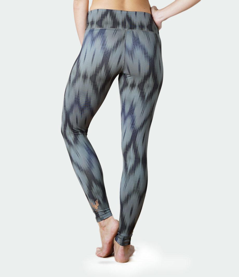 Yoga Leggings Devi-ikat olive-back view