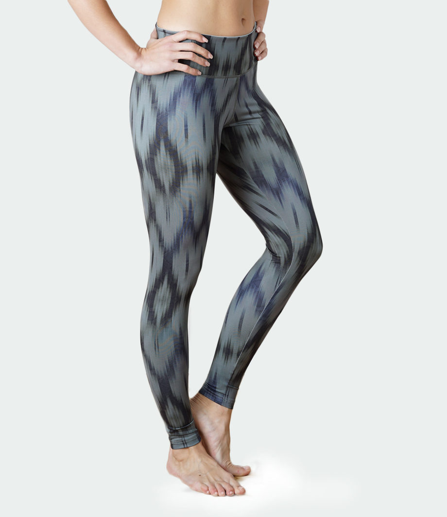 Yoga Leggings Devi-ikat olive-front side view