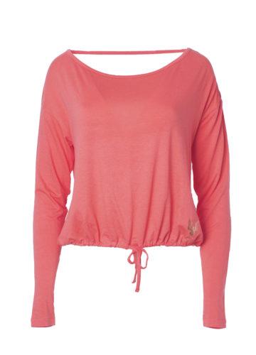 Yoga Top Aditi coral front-Kismet Yogastyle-Longsleeve