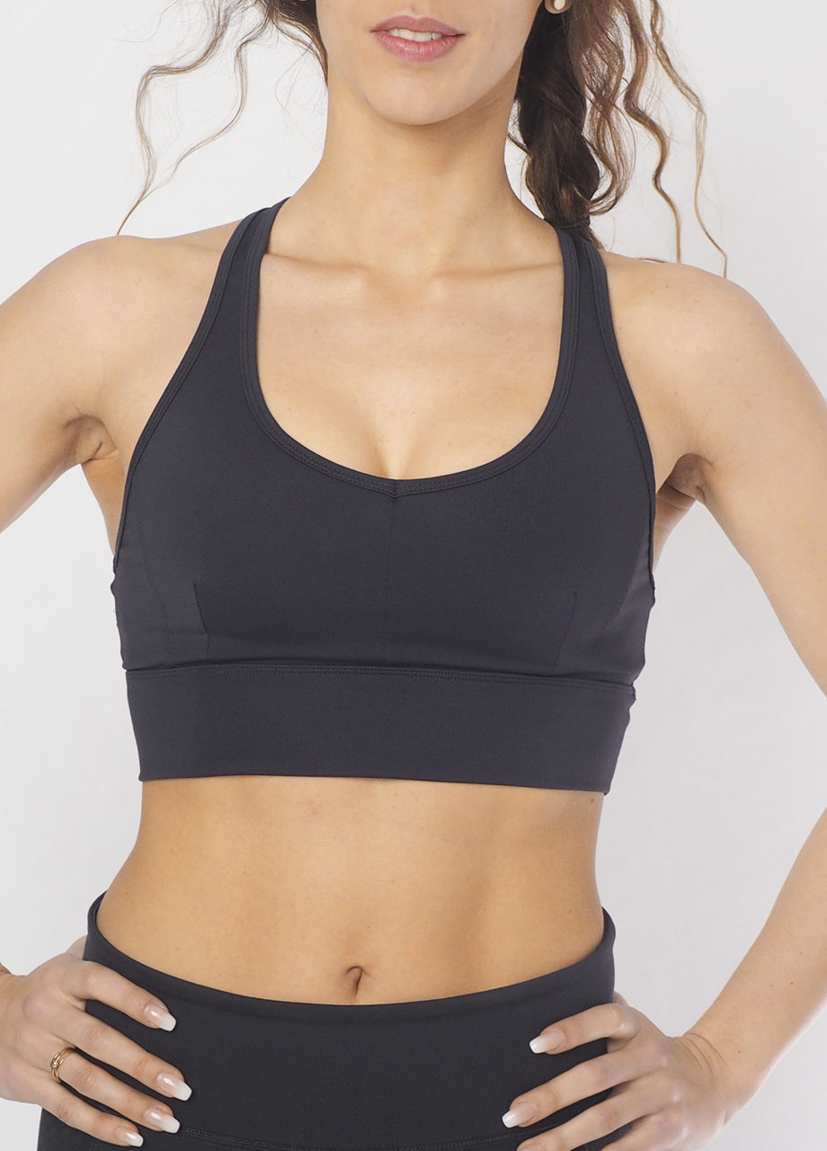 Yoga Bra Top Radha anthracite front view frei-Kismet Yogastyle-best fit