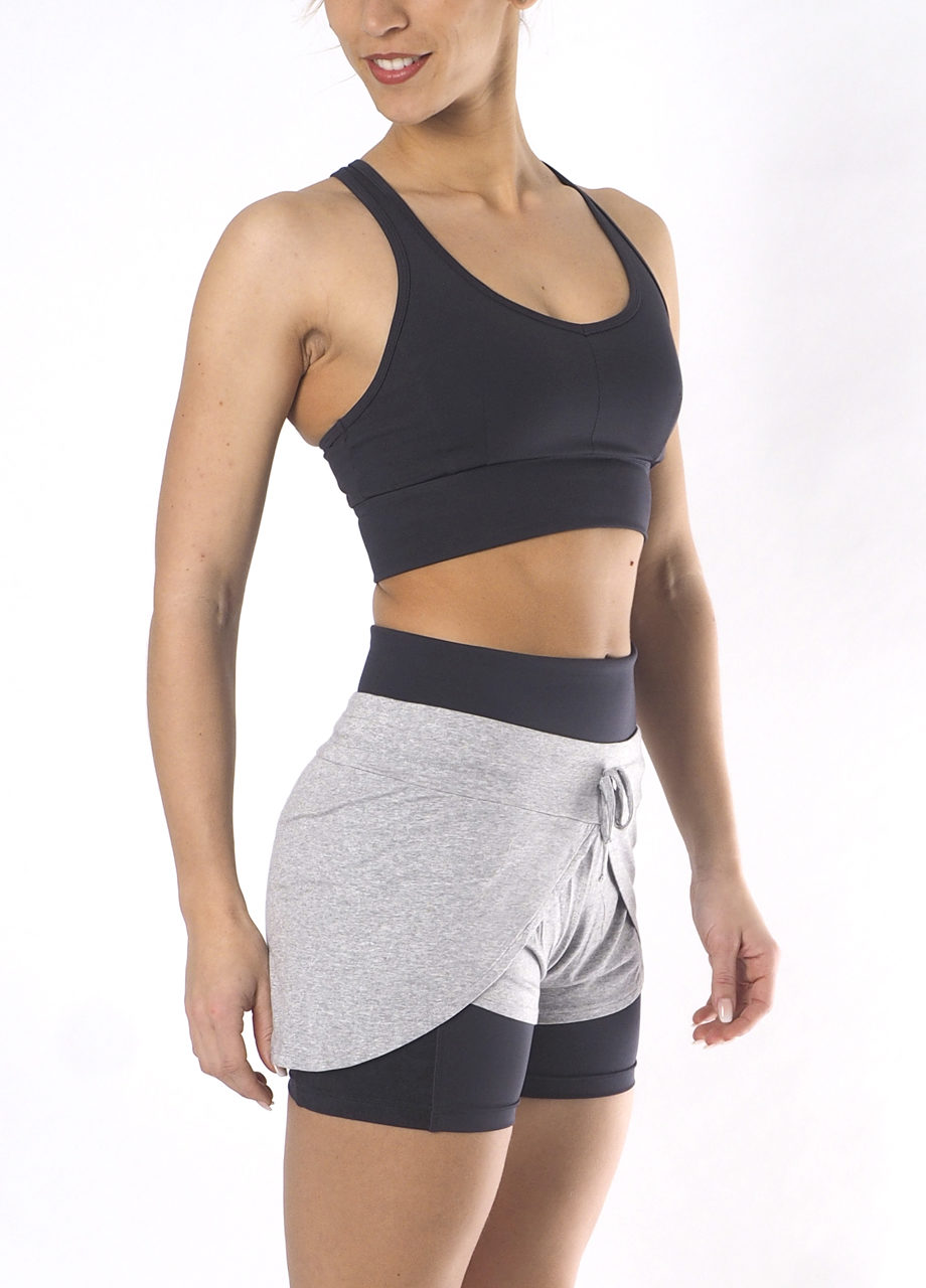 Yoga short jaya grey marl-Yoga Shape Short Ananta-Yoga Bra Top Raha -Kismet Yogastyle-side view
