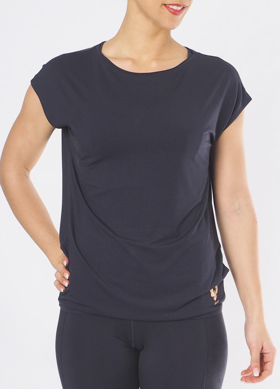 Yoga Top Varuna Anthracite front view -Kismet Yogastyle