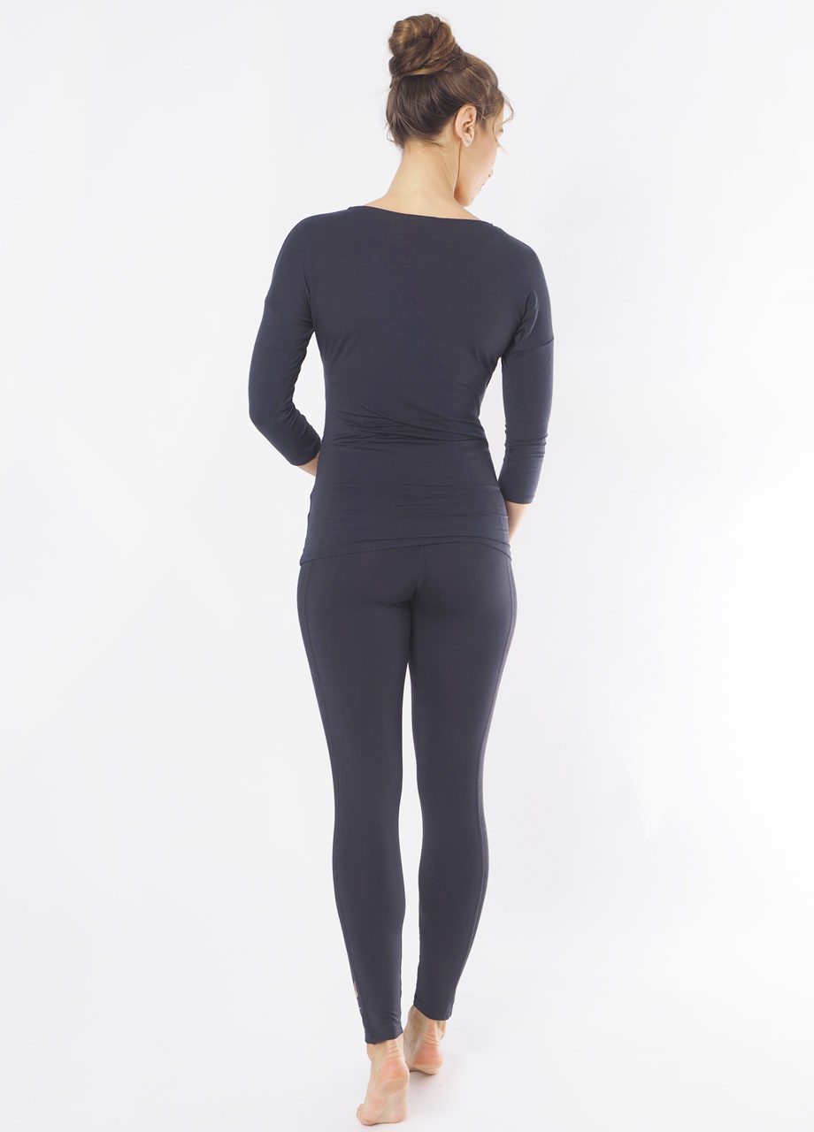 Yoga Tee Indra anthracite back view-Kismet Yogastyle-mood back
