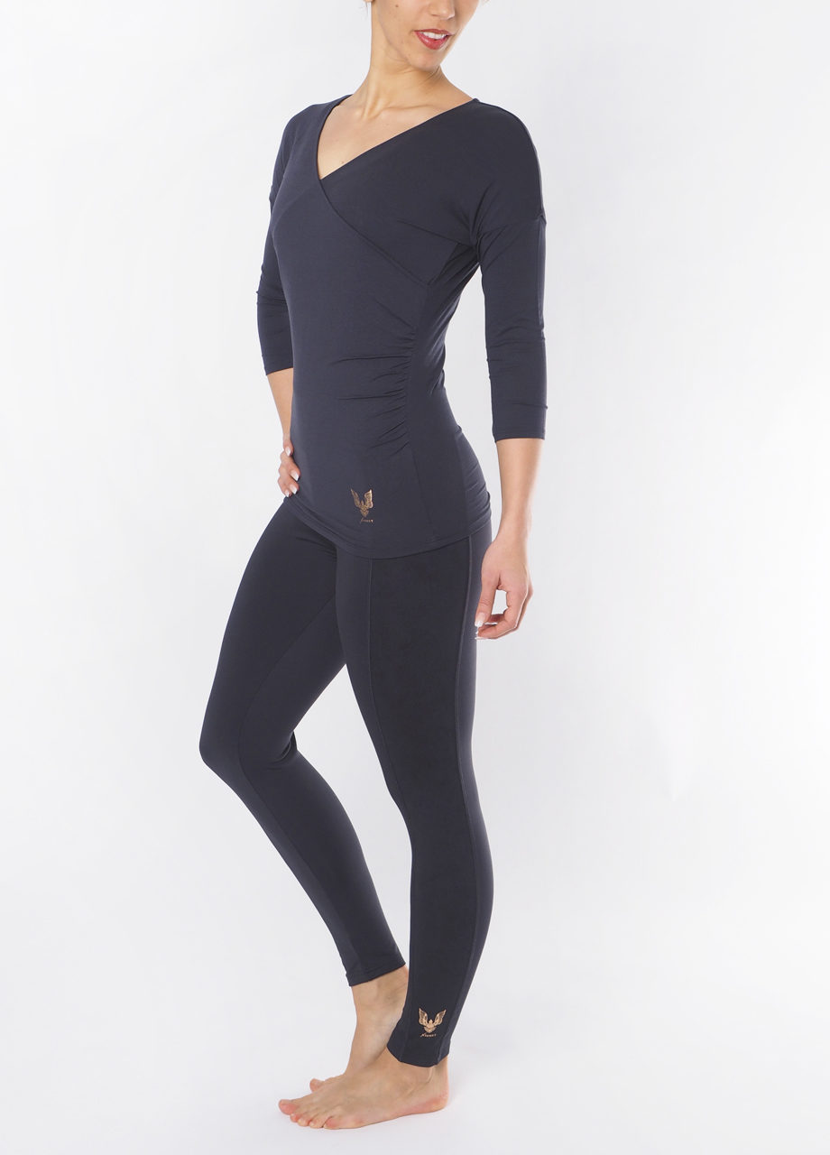 Yoga Tee Indra anthracite side view-Kismet Yogastyle