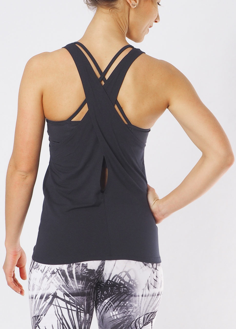 Yoga Wisdom Tank Anthracite-Kismet Yogastyle_back view-Yoga Tank Top
