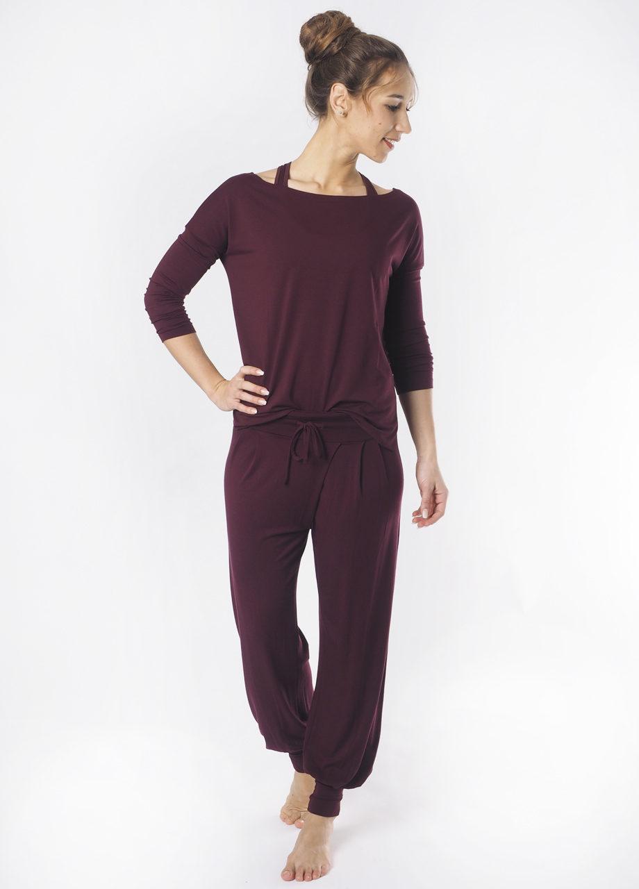 Kismet Aila long sleeve Top mystic red and Padmini on model full look