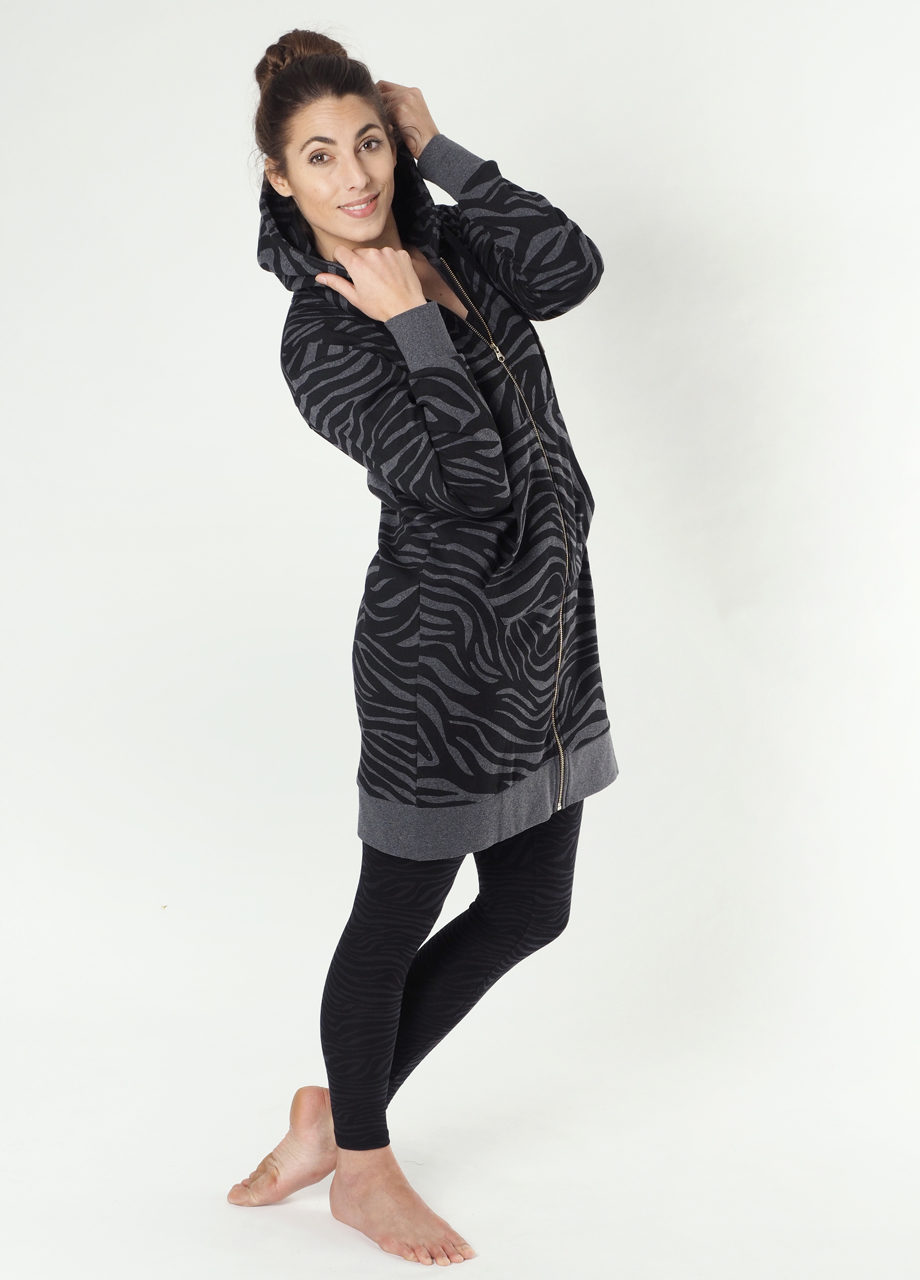 Kismet Longjacket Pangu dark grey zebra front all