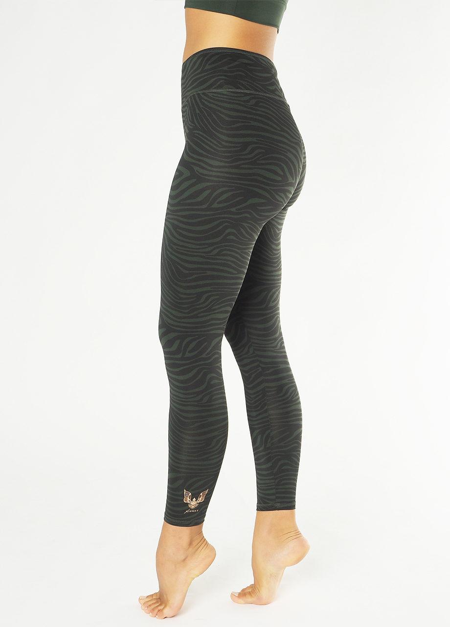 Kismet Yoga Leggings Ganga Deep Jade Zebra-Radha Bra Deep jade side