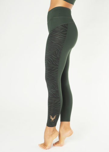 Kismet Yoga Shape Leggings Anisha deep jade zebra side