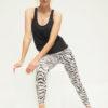 Yoga Leggings Ganga 7/8 - Animal Black White Sitting Mood